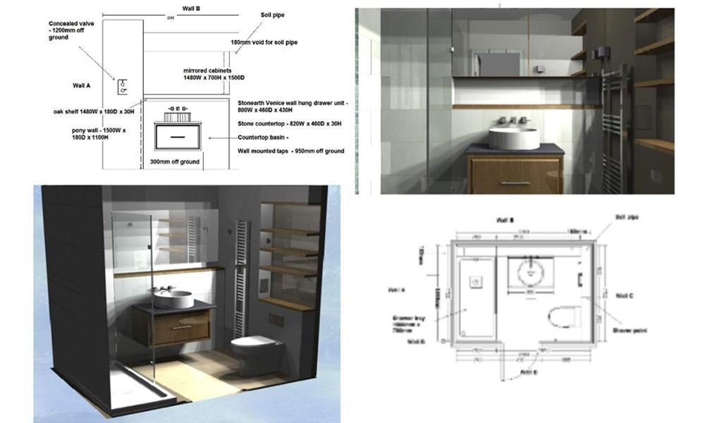Floor plans and 3D AutoCAD Designs renders bathroom