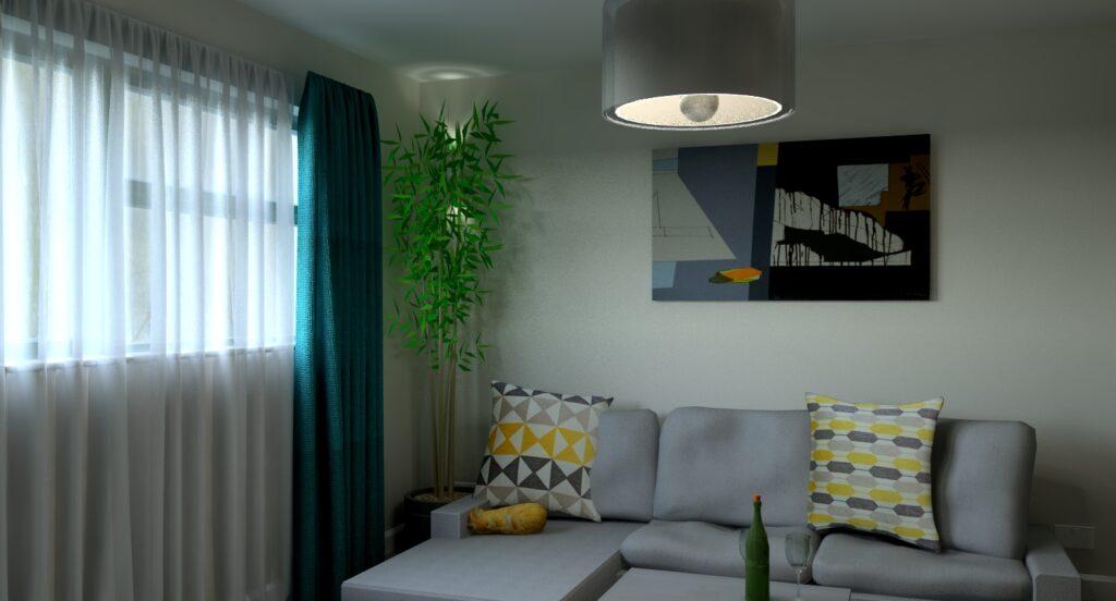 Hereford living room refurbishment Midcentury modern 3D render